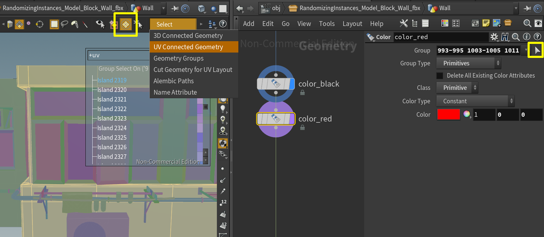 How to create vertex color masks for Unreal in Houdini